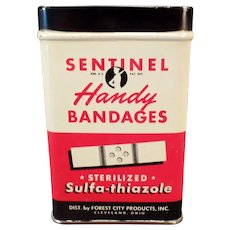 Vintage Sentinel Handy Bandages Bandaid Tin
