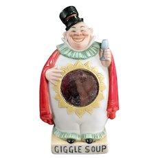 Vintage S & V German Porcelain Flask - Giggle Soup Clown Whimsy