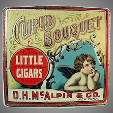 Vintage Tobacco Tin - Cupid Bouquet Little Cigars with Nice Cherub Graphics