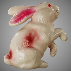 Vintage Celluloid Easter Bunny Rabbit Rattle Toy