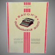 Vintage Eaton's Corrasable Bond Typing Paper 16# 30 Sheets Plus Miscellaneous