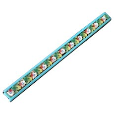 Vintage Micro Mosaic Bar Pin with Pretty Spring Flowers & Turquoise Boarder