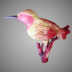 Vintage O.J. Plastic Lapel Pin – Nicely Detailed Woodpecker Type Bird