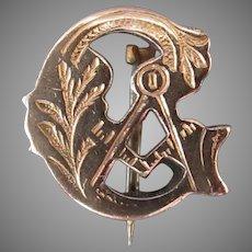 Vintage Masonic Lapel Pin - Old Freemasonry Emblem with Beautiful Detail