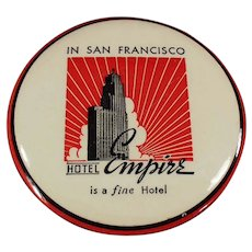 Vintage Celluloid Advertising Clothes Brush from San Francisco's Hotel Empire