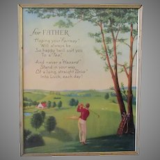 Vintage Motto Print for Father with Golfing Theme - 1960