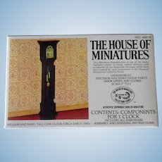 Vintage Miniature Doll Furniture – William & Mary Tall Case Clock #40018 Unassembled Kit