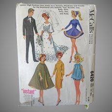 Vintage McCall's #6420 Doll Clothes Pattern for Barbie, Ken and Other Teen Model Dolls