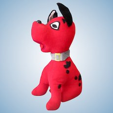 Vintage Stuffed Toy - Red Puppy Dog with Black Spots