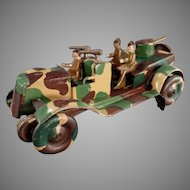 Vintage Tin Wind-Up Toy Vehicle - Camouflage Military Jeep - 1920's-1930's