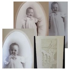 Three Vintage Baby Photographs in Boise Union Pacific Depot Folder Frames