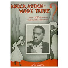 Knock, Knock Who's There? - Vintage 1936 Sheet Music with Fun Puns