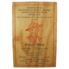 Vintage 1927 Menu and Program for Pacific Northwest Boy Scout Banquet