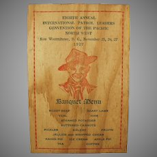 Vintage 1927 Menu and Program for Pacific Northwest Boy Scout Banquet