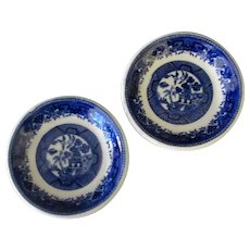 Two Vintage Blue Willow Pattern Butter Pats - One Shenango China