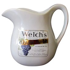 Vintage McCoy Pottery Welch's Grape Juice Advertising Stoneware  Pitcher