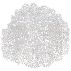 """Vintage Crocheted White Doily – Lacey 18"""" Round Handiwork"""