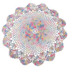 Vintage Crocheted Doily in Multicolored Pastel Thread – Round Dresser Scarf