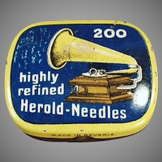 Vintage Highly Refined Herold Phonograph Needle Tin Partially Full of Steel Needles