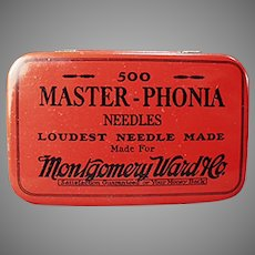 Vintage Master-Phonia Phonograph Needle Tin from Montgomery Ward