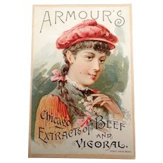 Vintage Vigoral Extract Advertising Trade Card - 1891 Armour's Vigoral