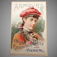 Vintage Vigoral Extract Advertising Trade Card - 1891 Armour's Vigoral