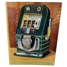 Vintage Mills Slot Machine Advertising Brochure - Mill's Bell-O-Matic Gambling Memorabilia