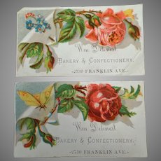 Two Vintage Advertising Trade Cards - Dehnert Bakery and Confectionery - Late 1800's