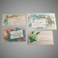 Four Vintage Advertising Trade Cards from Businesses in Newburgh, New York