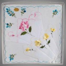 Vintage Hankie Set - Three Handkerchiefs with Pretty Flowers - 3 in Original Packaging