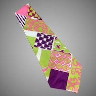 Men's Vintage Necktie - Hand Made - Wide, Wild & Vividly Colored Like Easter