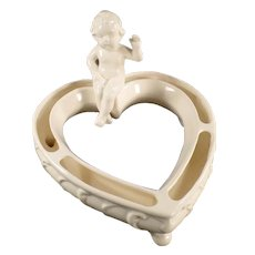 Vintage Hear Shaped Flower or Posey Ring with a Seated Cherub