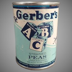 Vintage Tin Advertising Bank - Gerber Strained Peas ABC Baby Food Tin