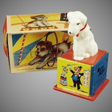 Vintage Tin Wind-Up Rex the Counting Dog Toy with Box - See on Facebook