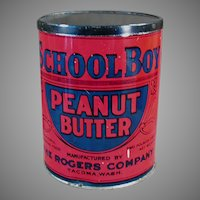 Vintage School Boy Peanut Butter Tin - Rogers Co. Seattle & Tacoma Washington