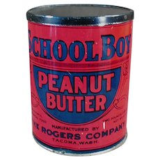 Vintage School Boy Peanut Butter Tin - Rogers Co. Seattle & Tacoma Washington
