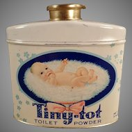 Vintage Tiny Tot Baby Powder Talc Tin with Cute Graphics