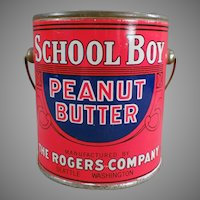 Vintage 1# School Boy Peanut Butter Pail Tin - Rogers of Seattle, Washington