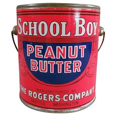 Vintage 1# School Boy Peanut Butter Pail Tin - Rogers of Seattle, Washington