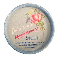 Vintage Debutante Magic Moment Sachet Box - 1950's Fuller Brush Little Powder Box