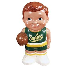 Vintage Seattle Sonics Basketball Player Penny Bank - Great Condition
