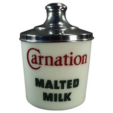 Vintage Carnation Milk Glass Malt Canister Jar with Original Aluminum Lid
