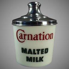 Vintage Carnation Milk Glass Malt Canister Jar with Original Aluminum Lid