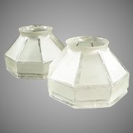 Pair of Vintage Light Shades with Angular Shape - Large Neck Size Frosted Glass