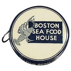 Vintage Celluloid Advertising Tape Measure - Boston Sea Food House