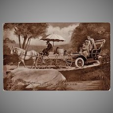 Humorous Vintage 1909 Postcard - Horse Cart and Old Automobile