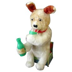 Vintage B.O. Milk Drinking Dog with Eyes that Light – Battery Operated Toy