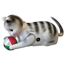 Vintage Wind Up Tumbling Cat with Ball – Tin & Celluloid Made in Japan