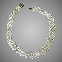 Vintage Faux Pearl and Gold Bead Choker Necklace