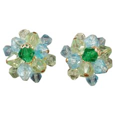 Vintage Costume Jewelry Clip-On Earrings - Blue and Green Glass Beads - Germany